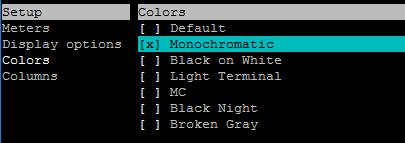 Monochromatic htop command color scheme - ARKIT